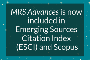 MRS Advances now included in ESCI