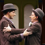 Twins Antipholus of Ephesus (Bruce Nelson) and Antipholus of Syracuse (Darragh Kennan), in the Folger production of The Comedy of Errors, 2011.